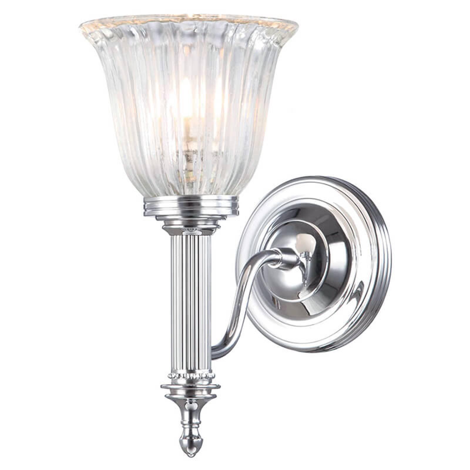 Vegglampe til våtrom Carroll, krom, valset glass