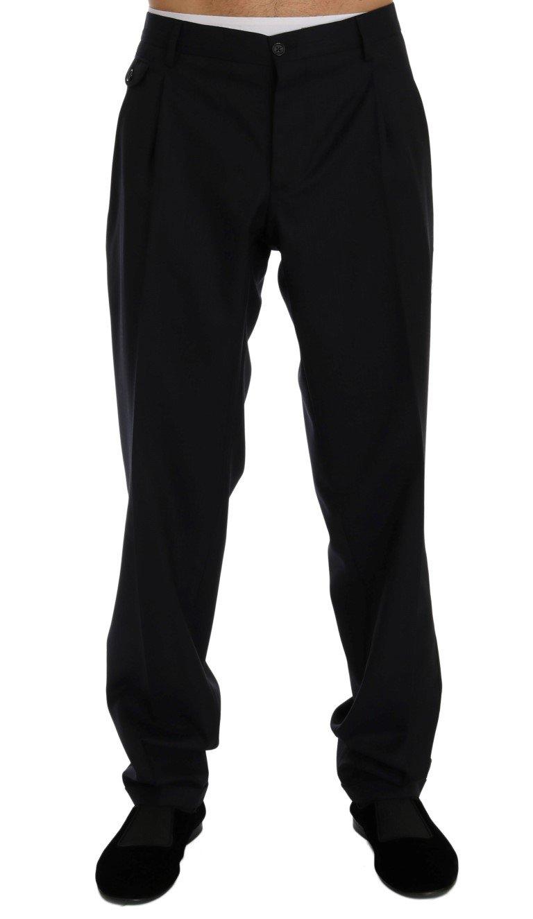 Dolce & Gabbana Men's Striped Wool Stretch Trouser Blue PAN60374 - IT54 | XXL