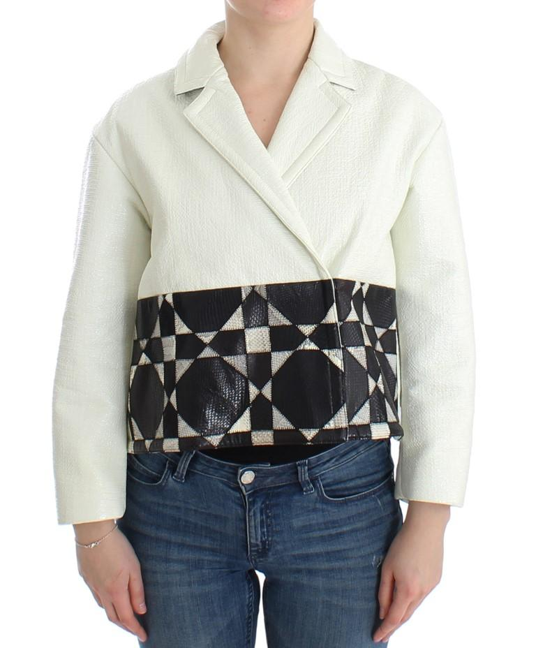 Andrea Pompilio Women's Cropped Leather Jacket Multicolor SIG12659 - IT40|S
