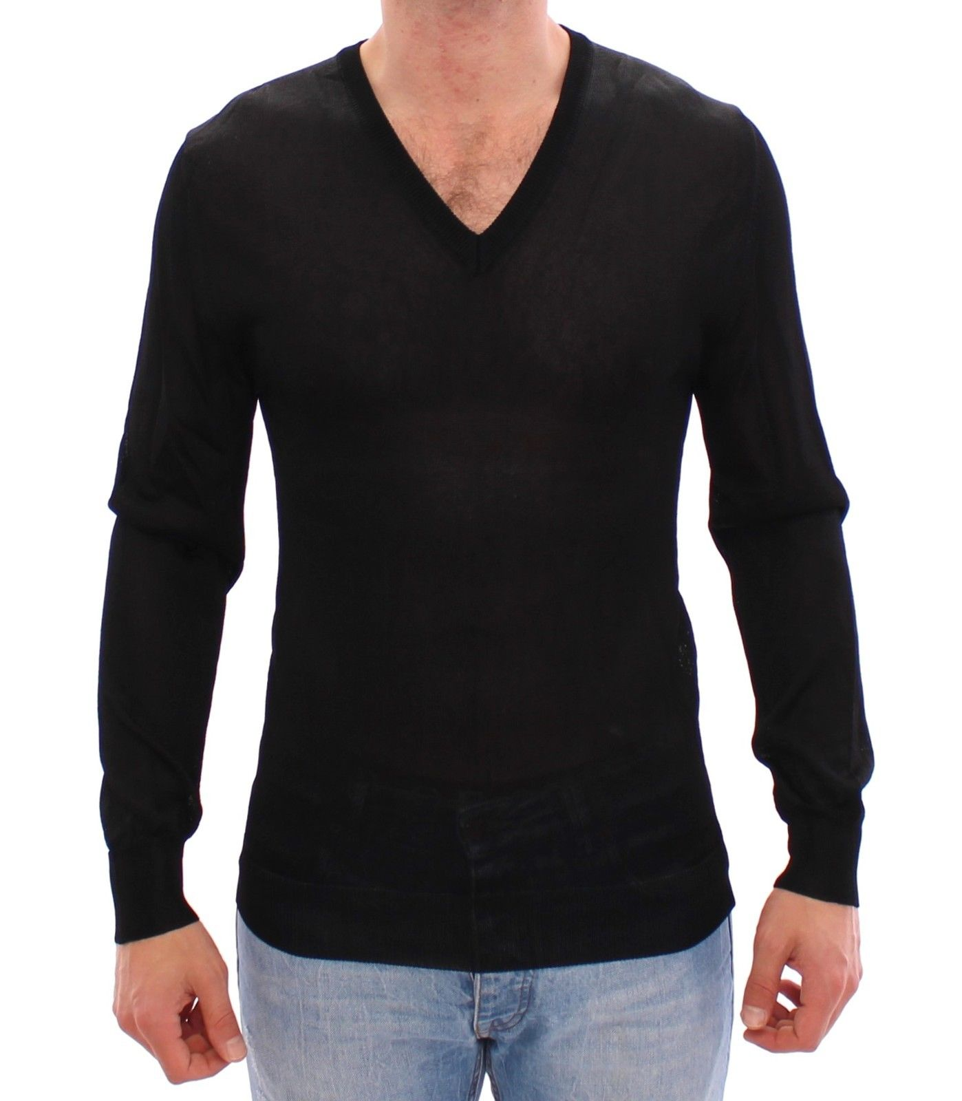 Dolce & Gabbana Men's V-neck Rayon Sweater Black MOM11304 - IT46 | S