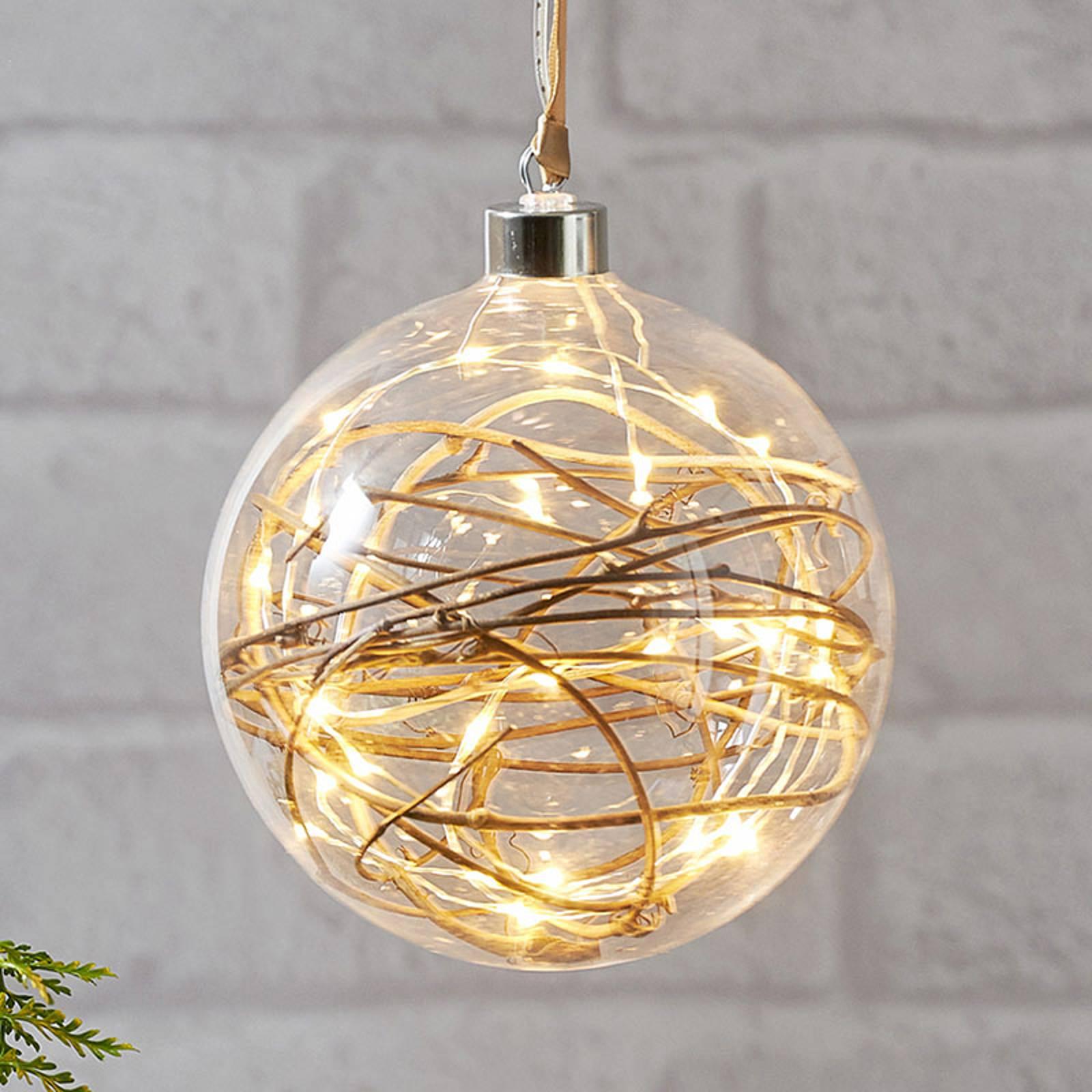 Glow-LED-koristepallo, kirkas, rottinki Ø 15 cm