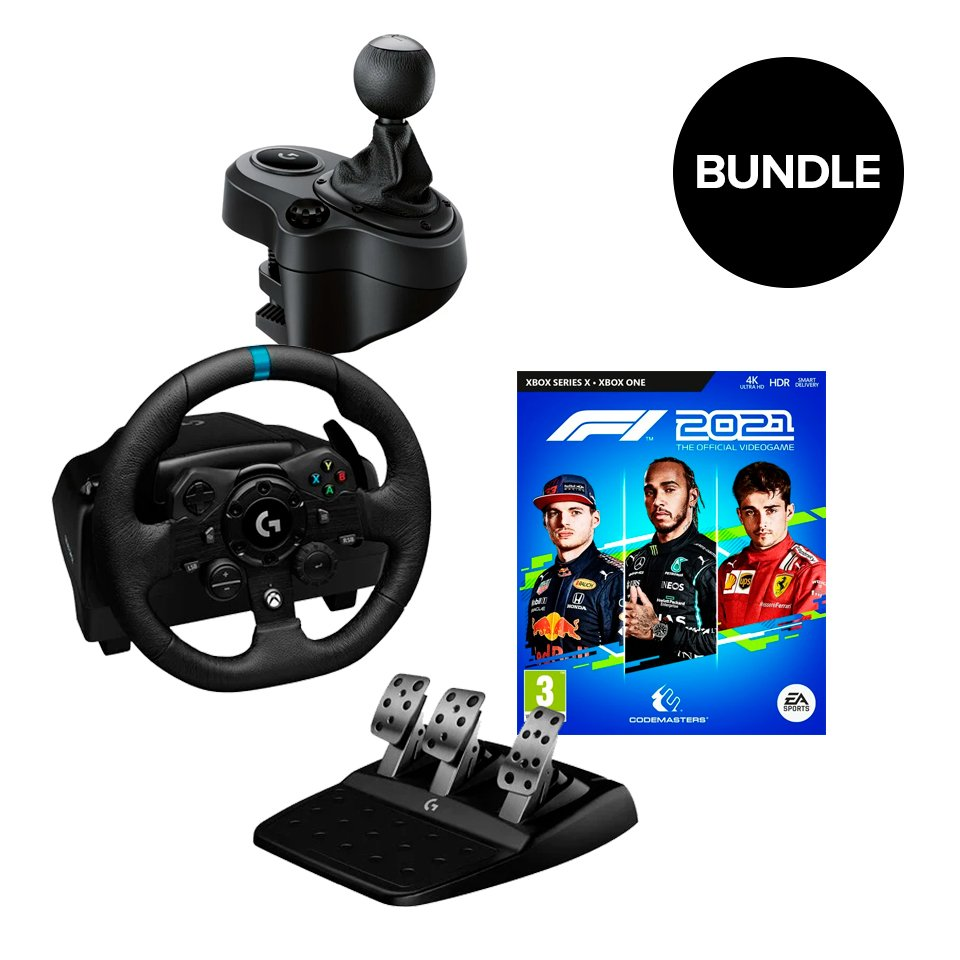 Logitech - G923 Racing Wheel and Pedals + Gearshifter + F1 2021 (Xbox-One) - Bundle