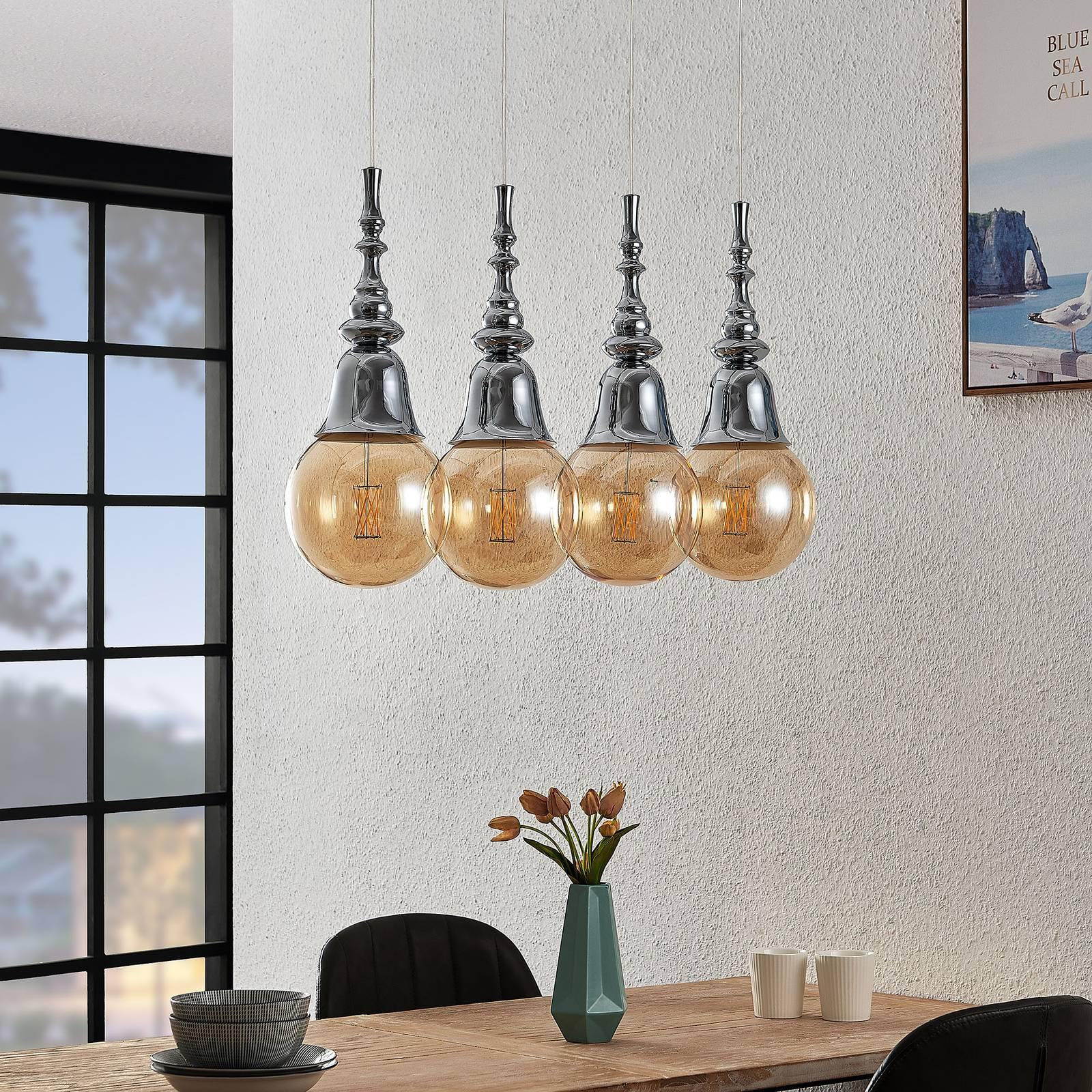 Lucande Gesja -riippuvalo, 4-lamppuinen, kromi