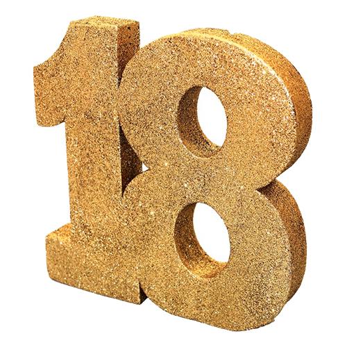 Siffra 18 Guld Glitter Dekoration