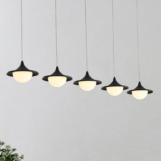 Lucande Tamsi -LED-riippuvalo, 5-lamp., himmennys