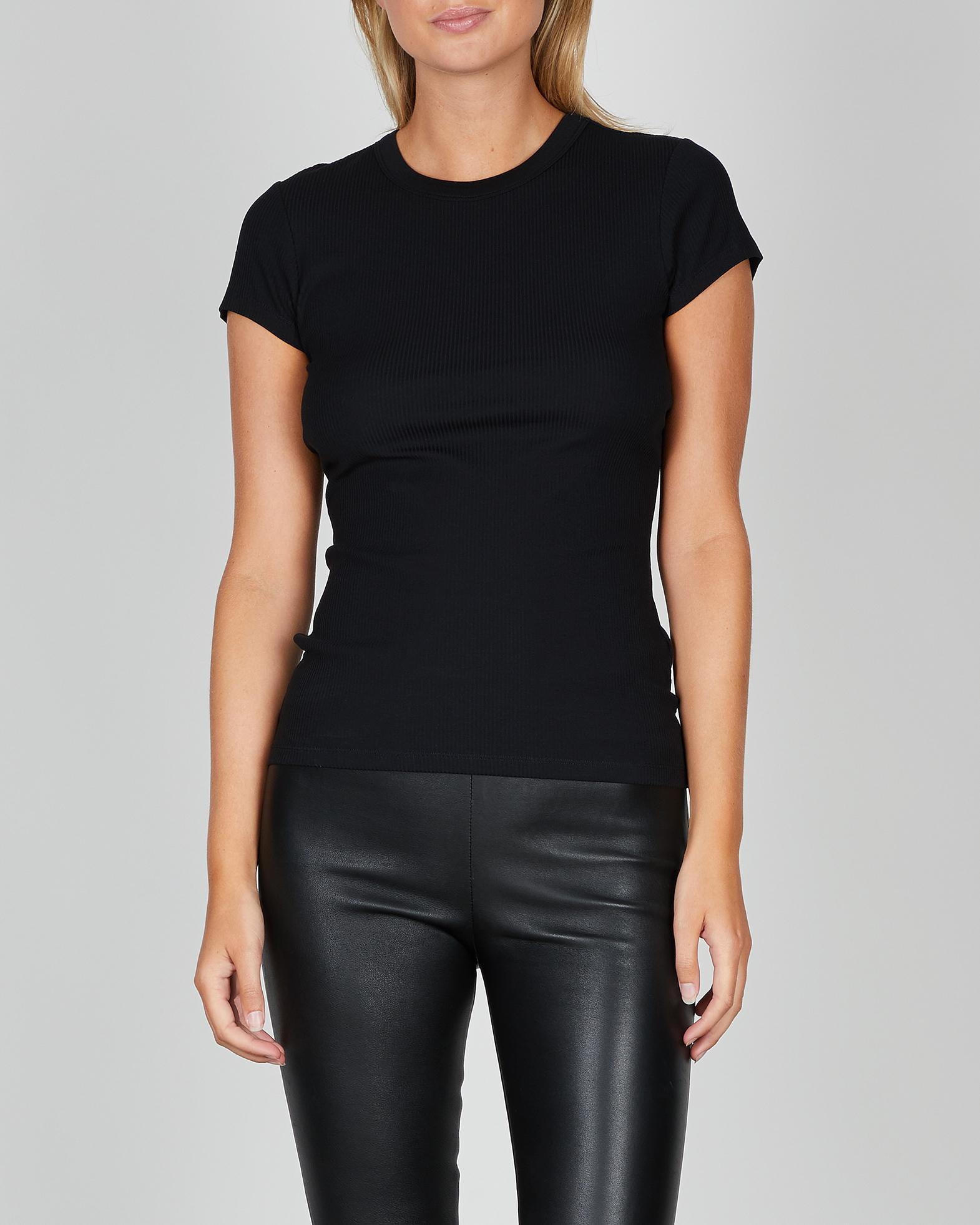 Filippa K T-Shirt Fine Rib svart XS