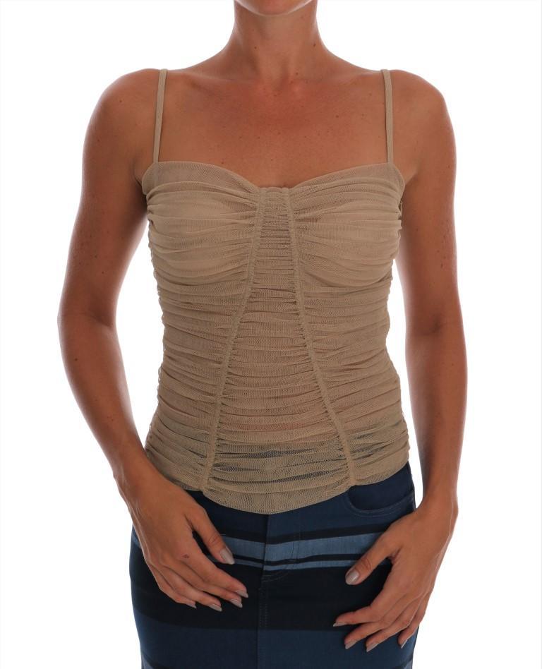 Dolce & Gabbana Women's Stretch Cotton Top Beige TSH1452 - IT40|S