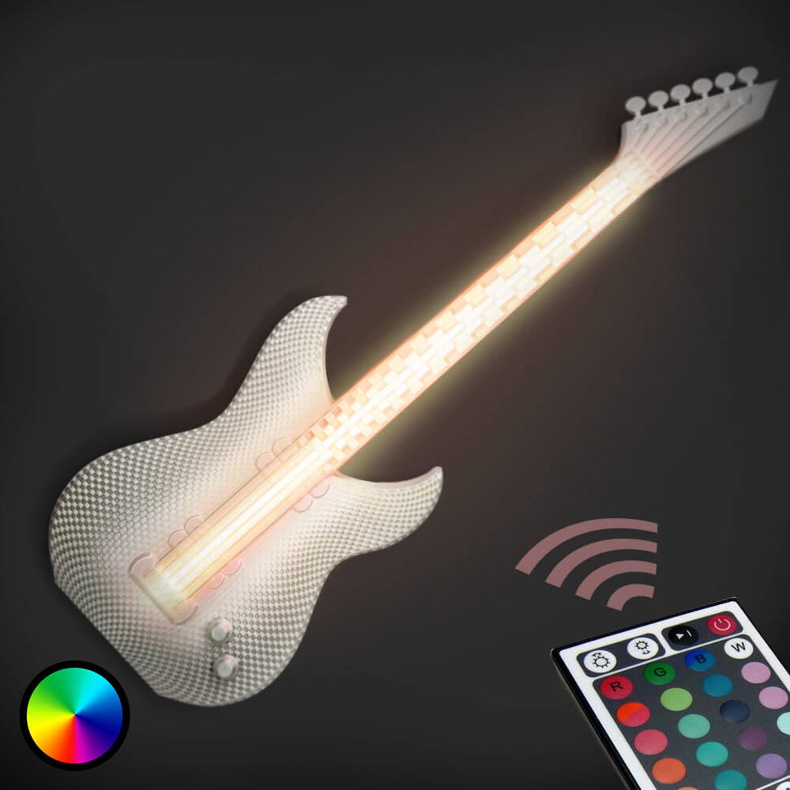 Gitar - hvit LED-vegglampe, 3D-print