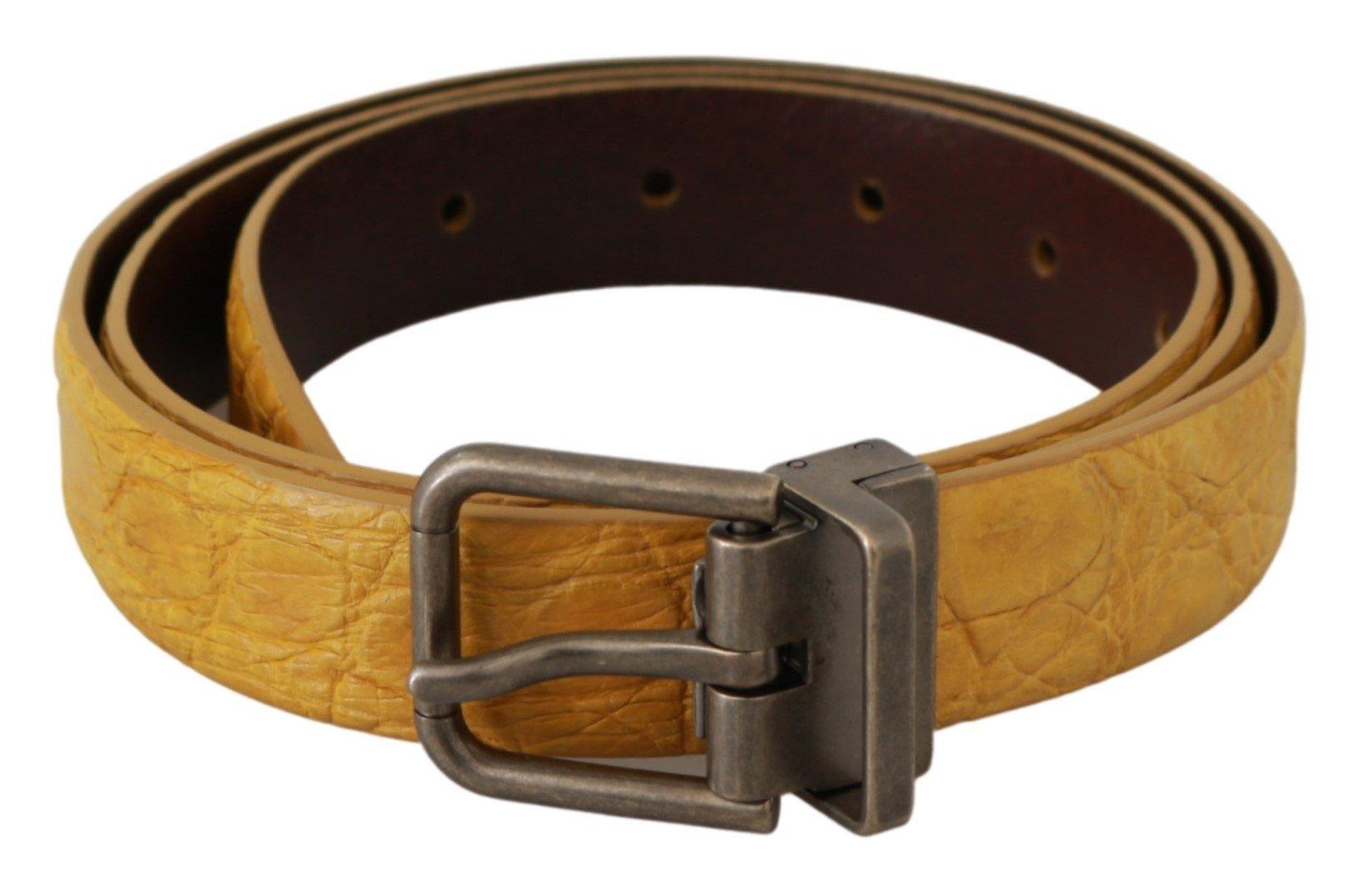 Dolce & Gabbana Men's Exotic Skin Leather Buckle Belt Gray BEL60628 - 100 cm / 40 Inches