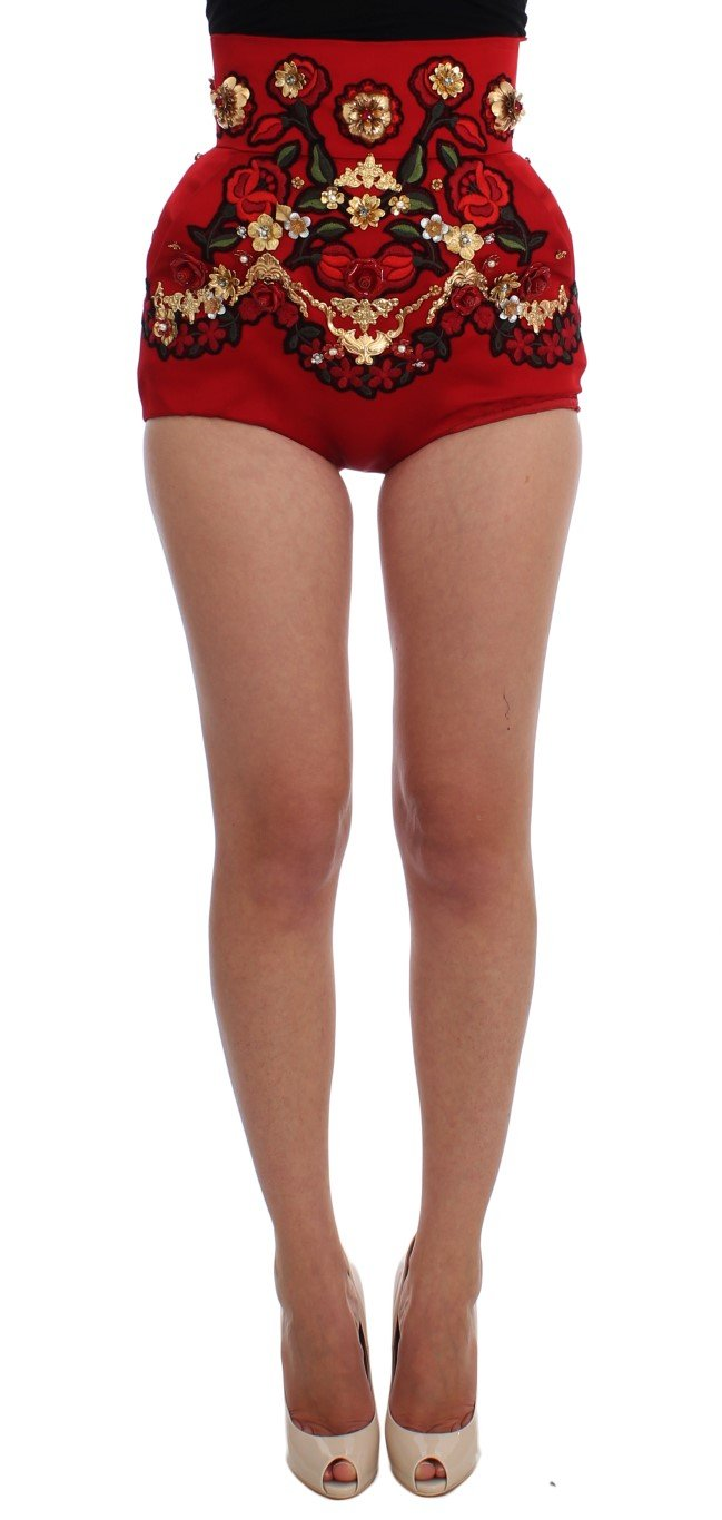 Dolce & Gabbana Women's Silk Crystal Roses Shorts Red SIG20120 - IT42 M