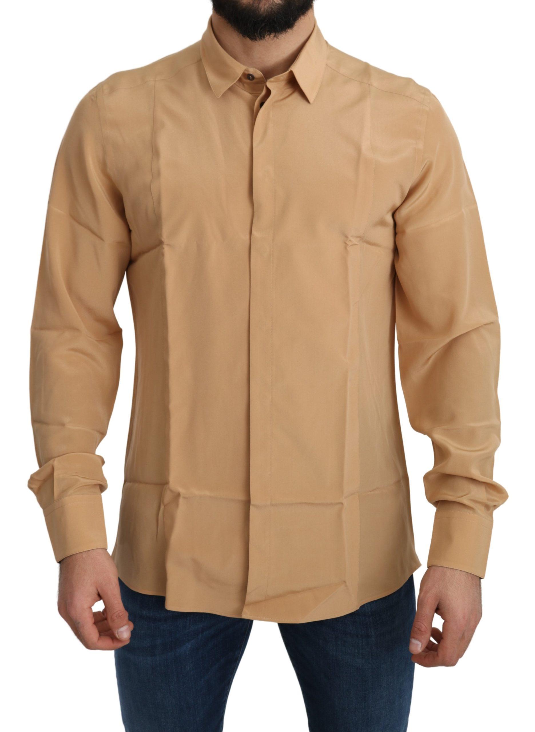 Dolce & Gabbana Men's Silk Slim Shirt Yellow TSH5213 - IT40   M