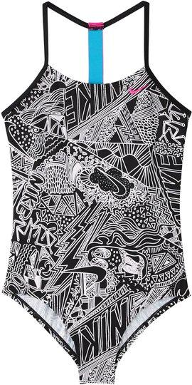 Nike Swim Doodle T-Back Badedrakt, Black XL
