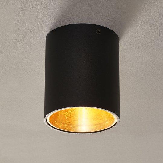 Polasso-LED-kattovalaisin, pyöreä, musta-kulta