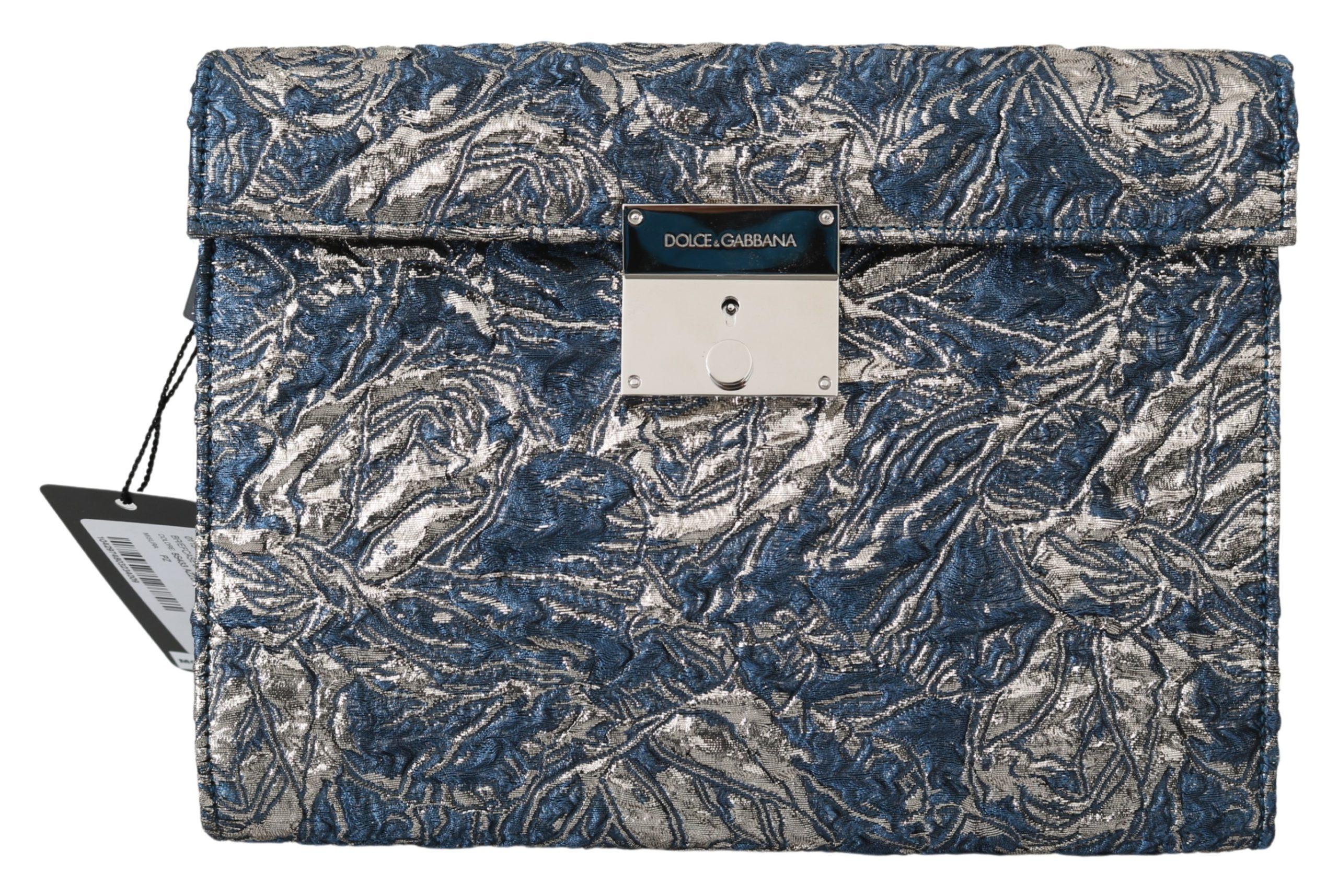 Dolce & Gabbana Men's Jacquard Leather Briefcase Bag Blue VAS9867