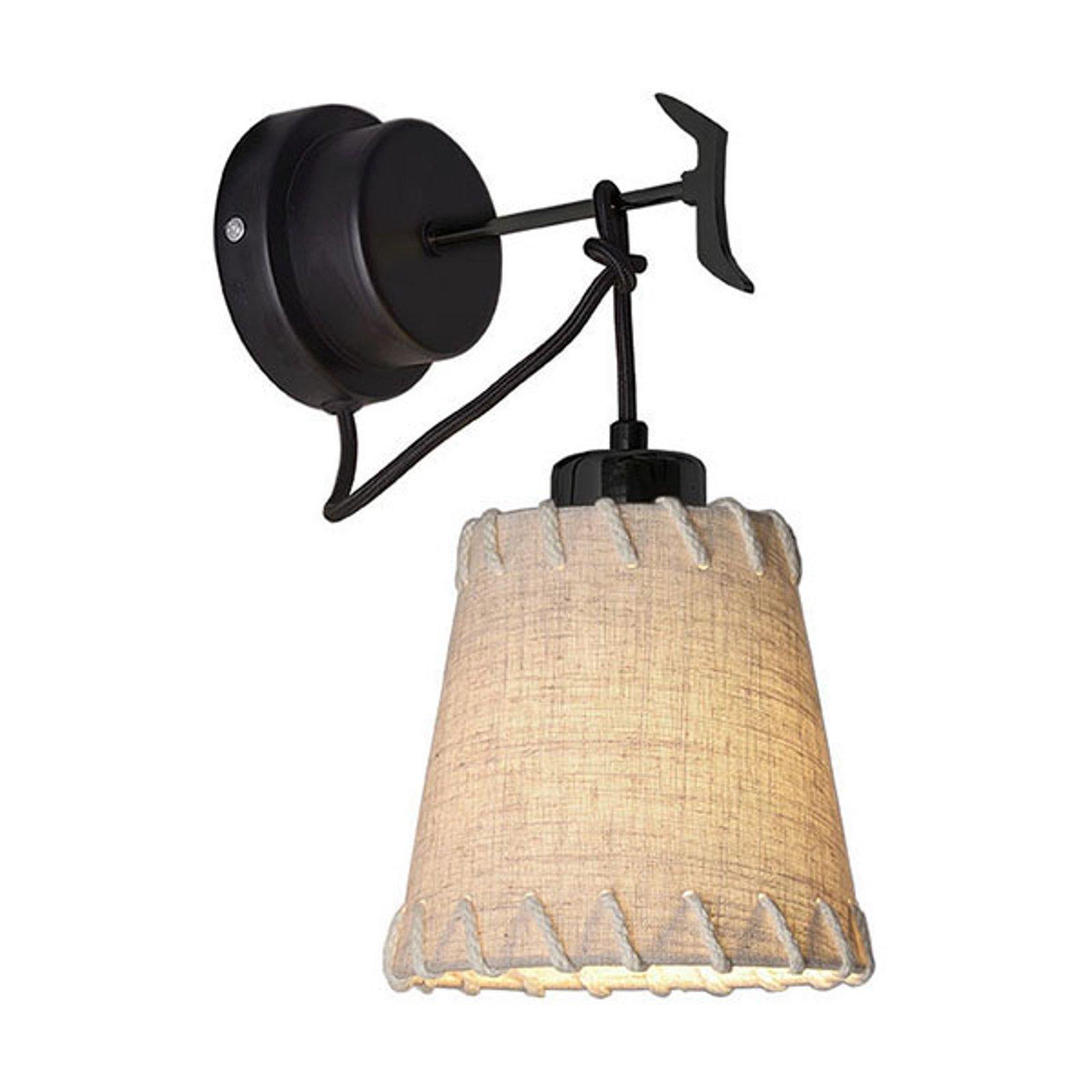 Vegglampe Timor, tekstil, beige