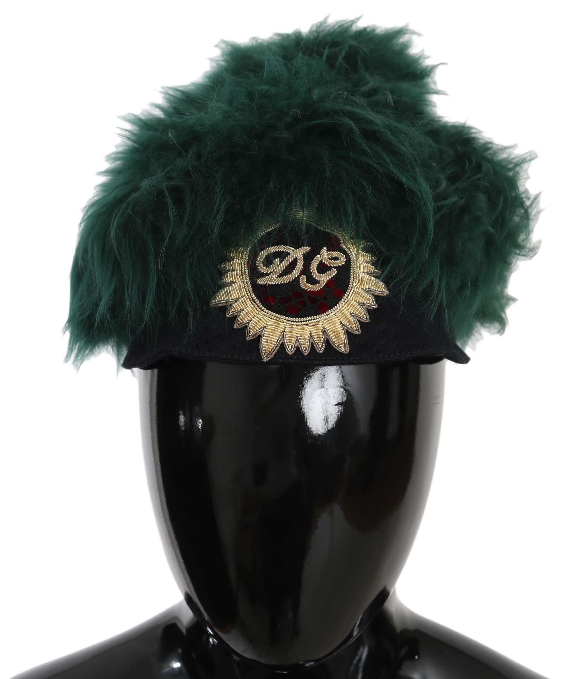 Dolce & Gabbana Women's Fur DG Logo Embroidered Cloche Hat Green HAT70209 - 56 cm|XS