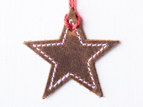 Leather Star Christmas Tree Decoration Small