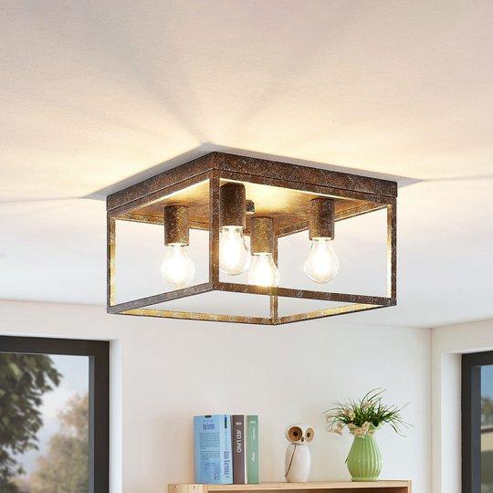 Lindby Lejus kattovalaisin, 4-lamppuinen, ruoste