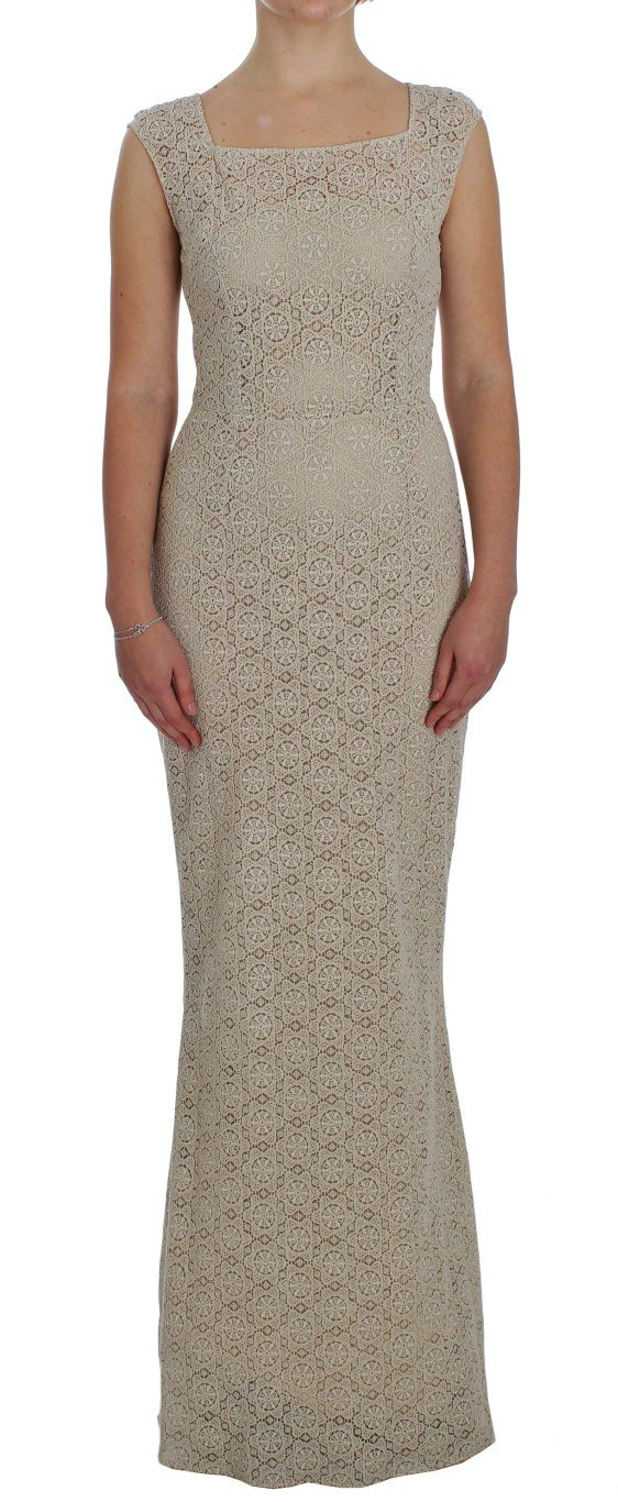 Dolce & Gabbana Women's Ricamo Cutout Cotton Sheath Dress Beige NOC10101 - IT40|S