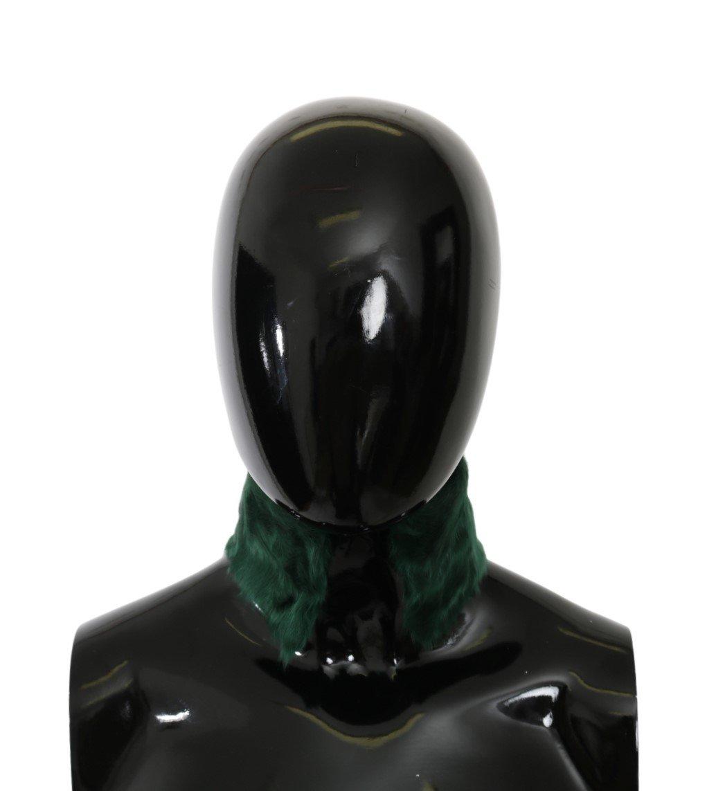 Dolce & Gabbana Women's Fur Neck Collar Wrap Lambskin Scarf Green MS5582