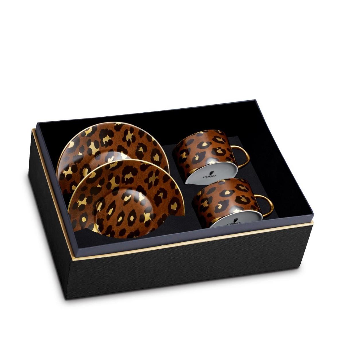 L'Objet I Leopard Tea Cup + Saucer (Set of 2)