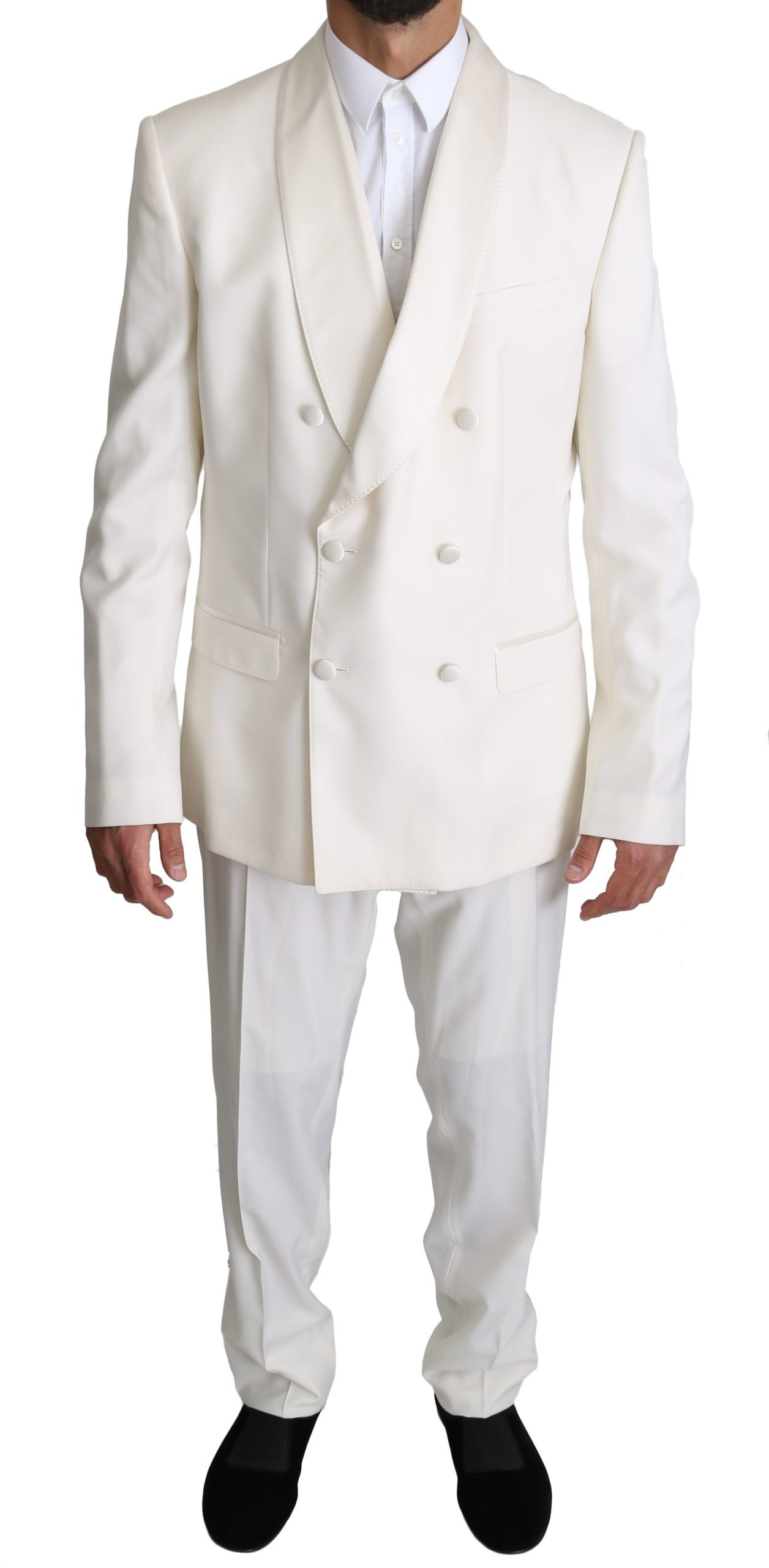 Dolce & Gabbana Men's Double Breasted 3 Piece MARTINI Suit White KOS1522 - IT54 | XL