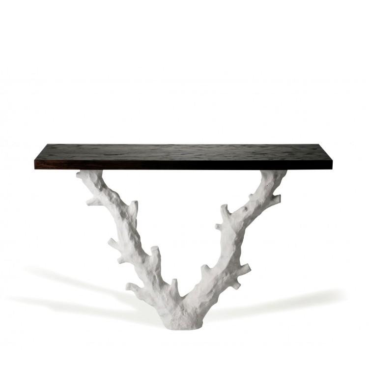 Porta Romana I Twig Console Table |plaster White With Dark Fumed Oak Top