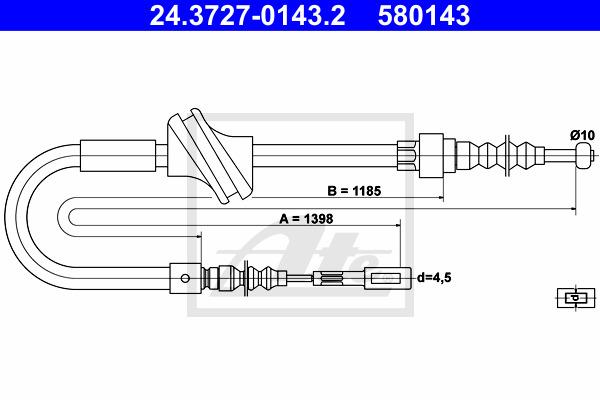 Käsijarruvaijeri ATE 24.3727-0143.2