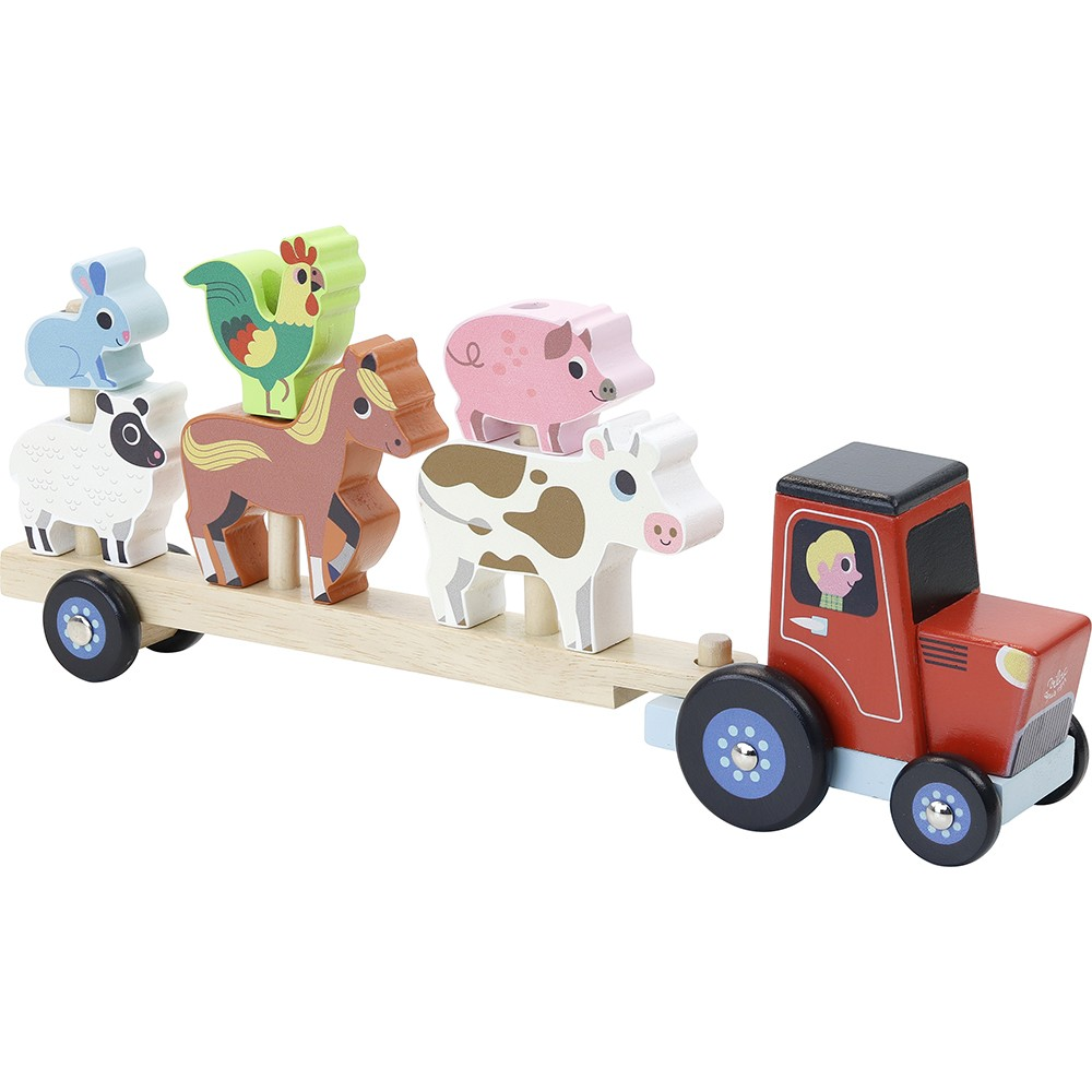 Vilac - Tractor and trailer with animals stacking game (7602)