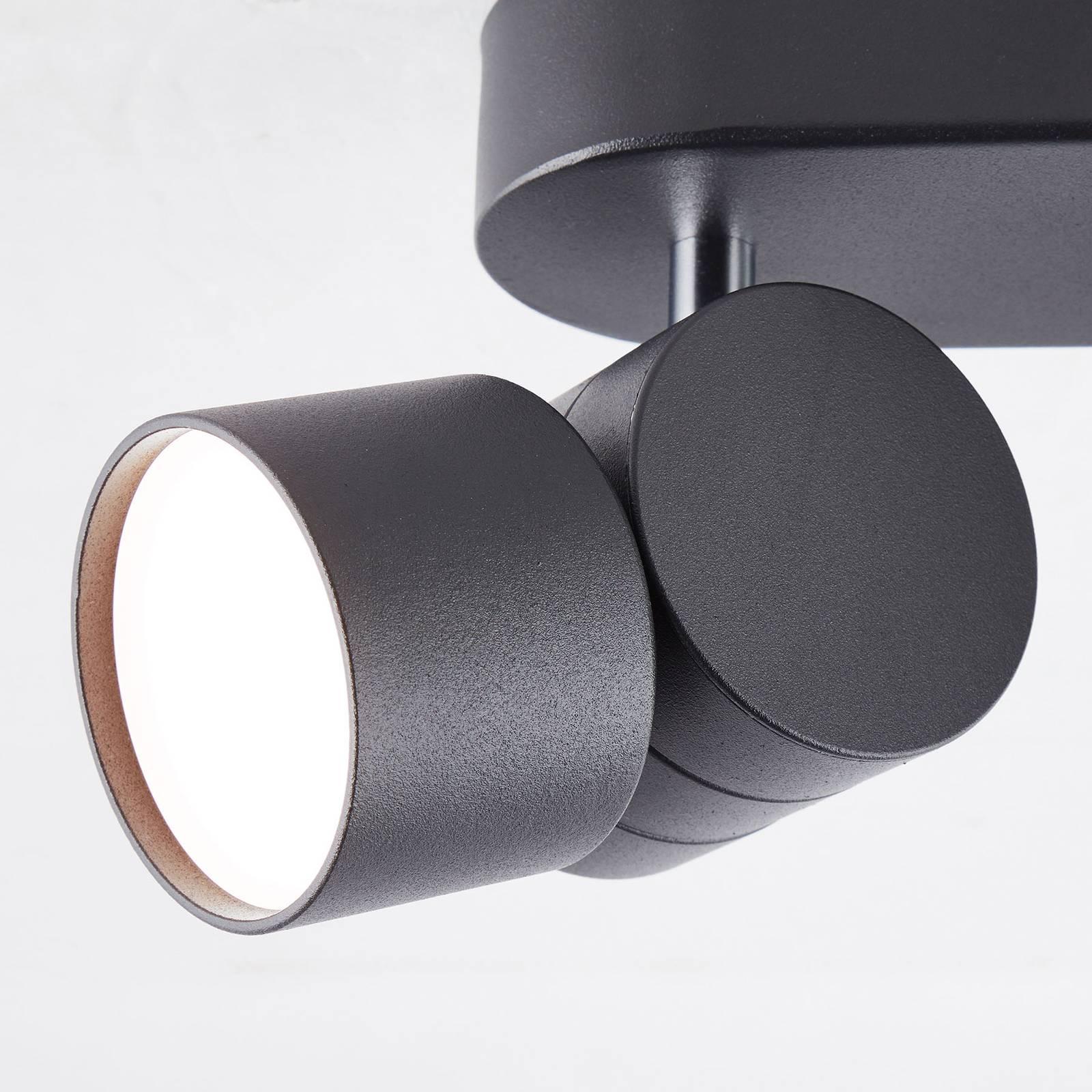 AEG Twine -LED-kattokohdevalo musta, 2-lamppuinen