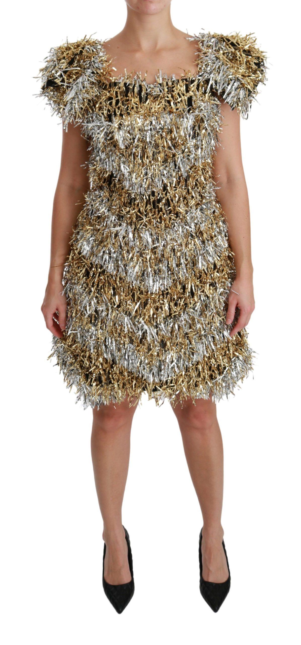 Dolce & Gabbana Women's Sheath Mini Shift Gown Dress Silver DR2510 - IT40 S