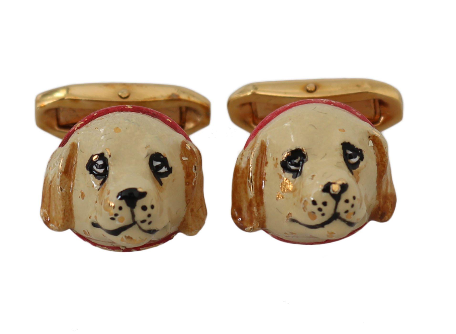 Dolce & Gabbana Women's Brass Dog Puppy Branded Accessory Cufflinks Gold SMY2059