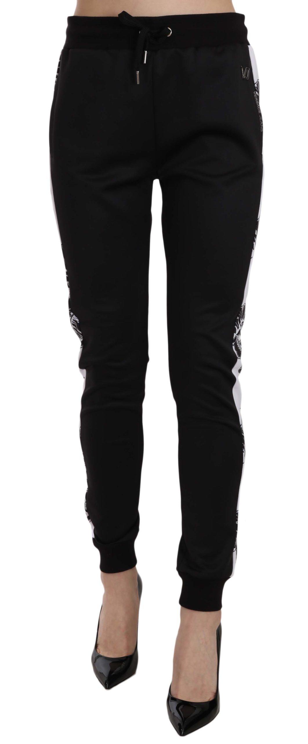 Versace Jeans Women's Drawstring Logo Trouser Black PAN60997 - IT36 XXS
