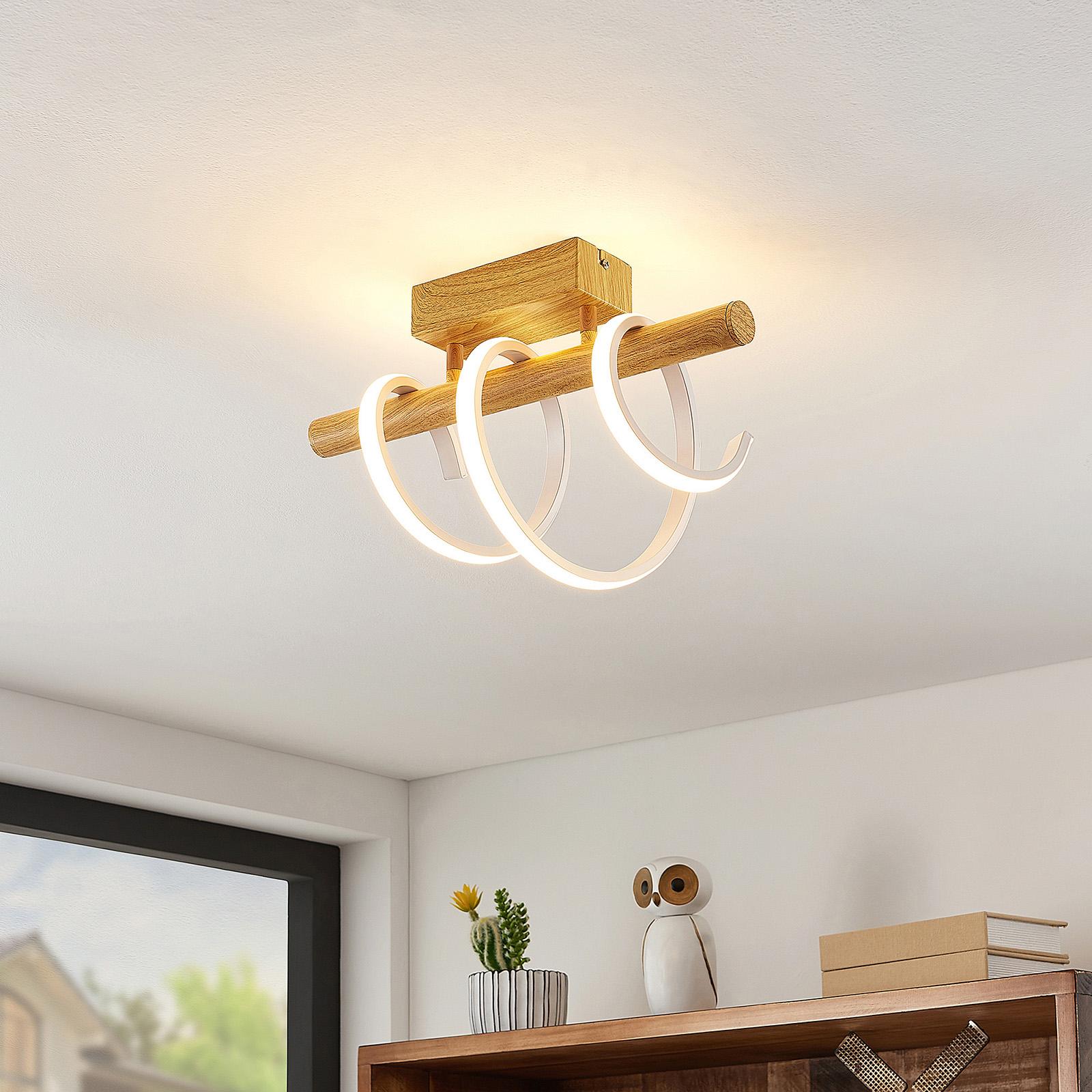 Lucande Milora -LED-kattovalaisin 27 cm, tammi