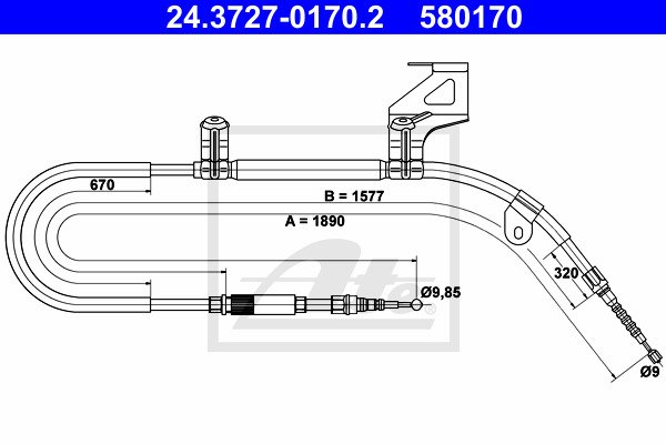 Käsijarruvaijeri ATE 24.3727-0170.2
