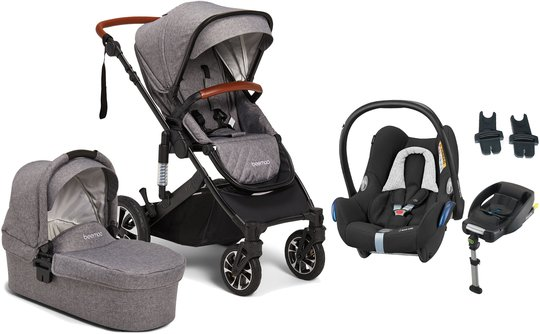 Beemoo Maxi 4 Duovogn Inkl. Maxi-Cosi Cabriofix Babybilstol + Base, Grey/Black