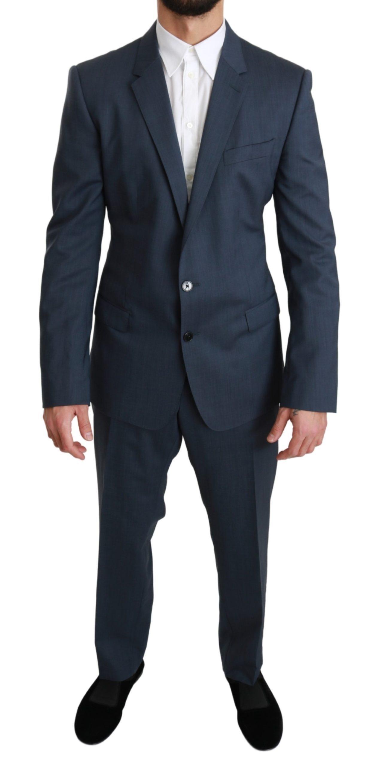 Dolce & Gabbana Men's Wool MARTINI Stretch 2 Piece Suit Blue KOS1667 - IT54 | XL