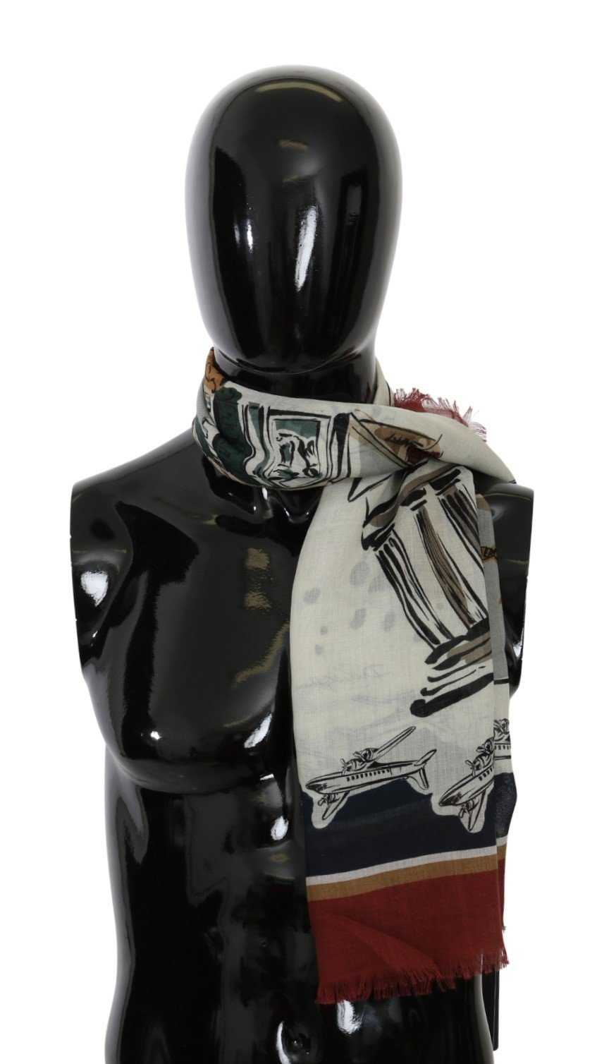 Dolce & Gabbana Men's Print Wrap Cashmere Scarf Multicolor MS5570