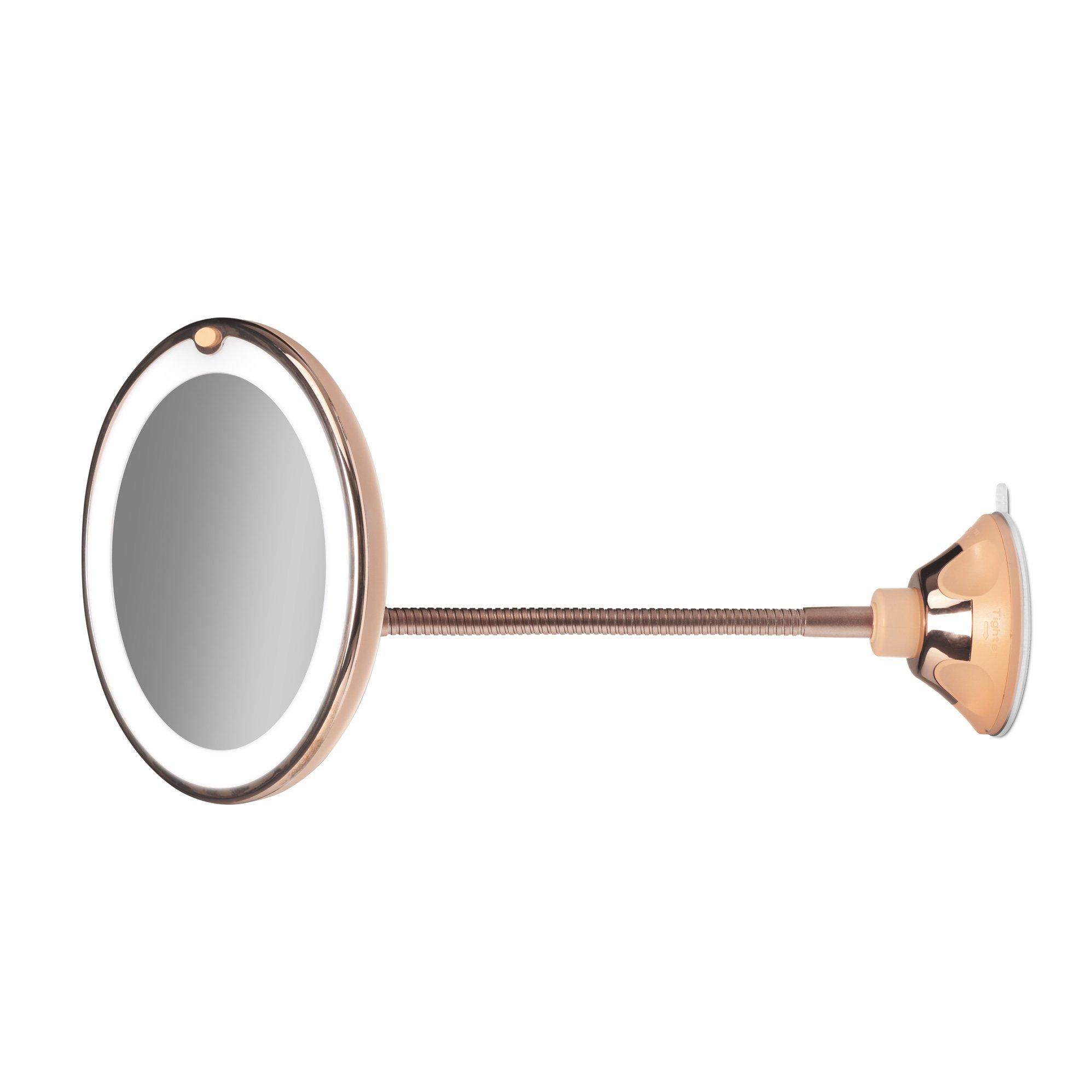 "Gillian Jones - Rosegold Suctionmirror w. Adjustable ""Goose Neck"" & LED Light"
