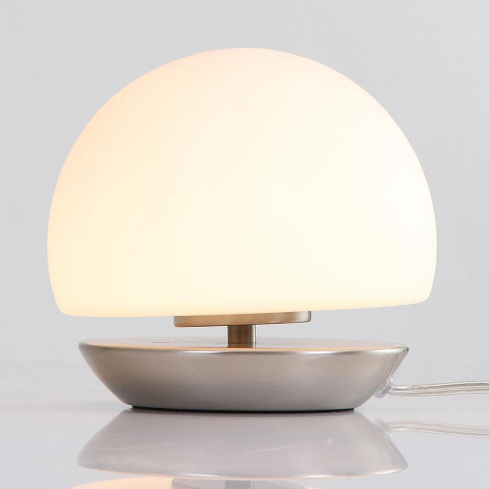 LED-pöytälamppu Ancilla, jalka harjattua terästä