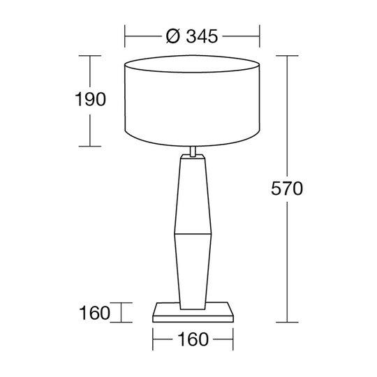 HerzBlut Marla bordlampe, oljet eik hvit 57 cm