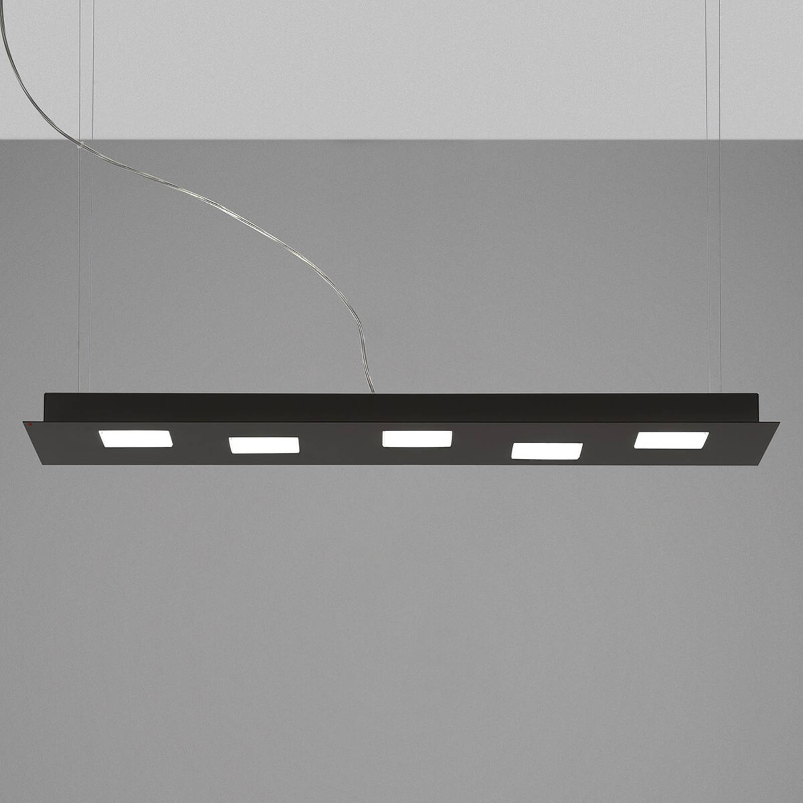 Fabbian Quarter -LED-riippuvalaisin 5-lamp. musta