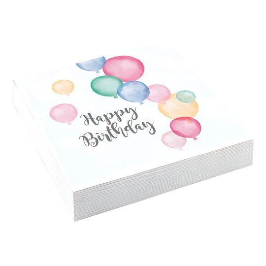 Servetter Ballonger Happy Birthday Pastell - 20-pack