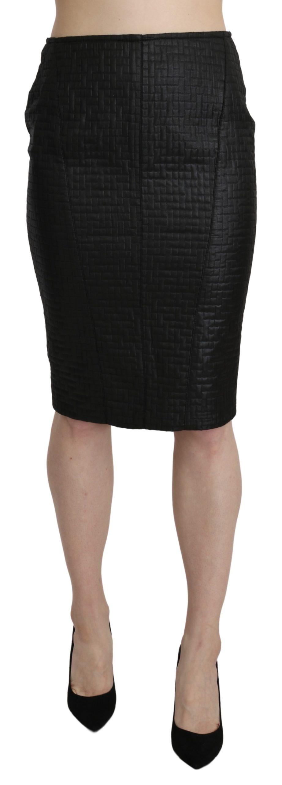 Black Pencil Knee Length Straight Patterned Skirt - IT42|M