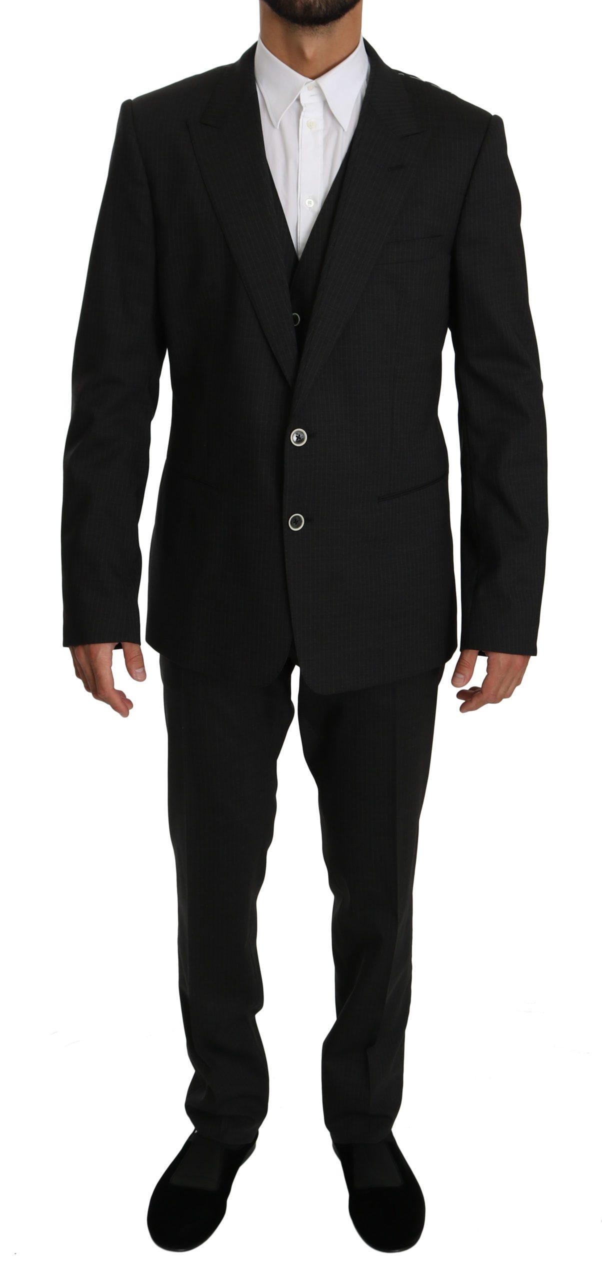 Dolce & Gabbana Men's Striped Wool Stretch Slim Fit Suit Black KOS1562 - IT54 | XL