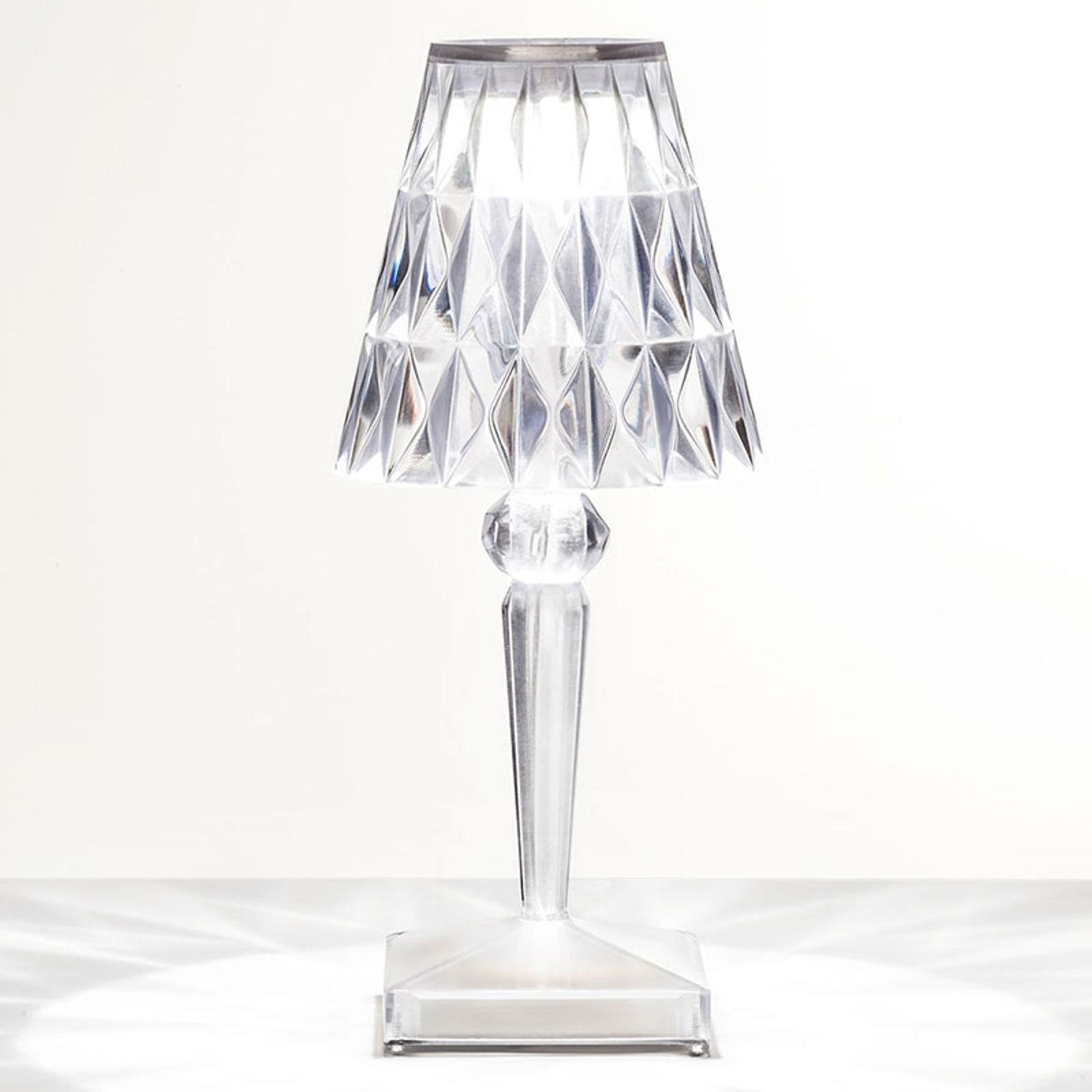 Deko LED bordlampe Battery med IP54, transparent