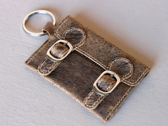 Leather Satchel Key Ring Small