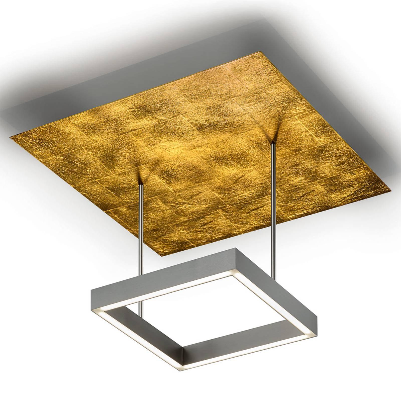 Dimbar LED-taklampe Demeter med bladgull