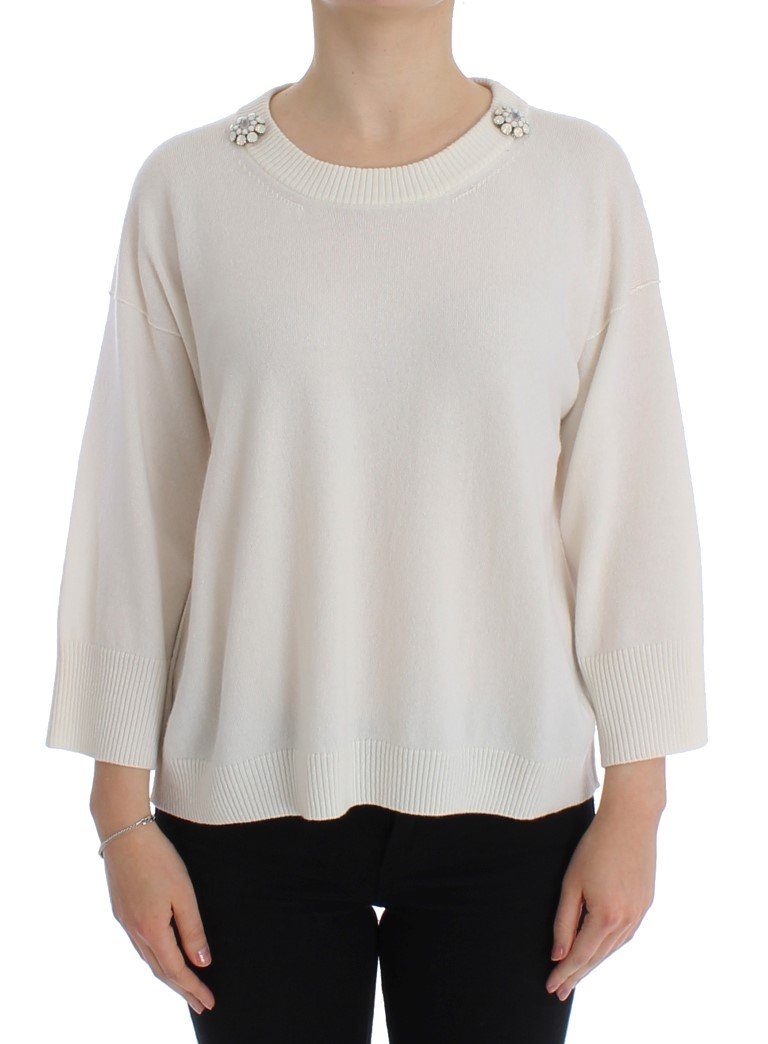 Dolce & Gabbana Women's Cashmere Floral Pearl Sweater White SIG13184 - IT42 M