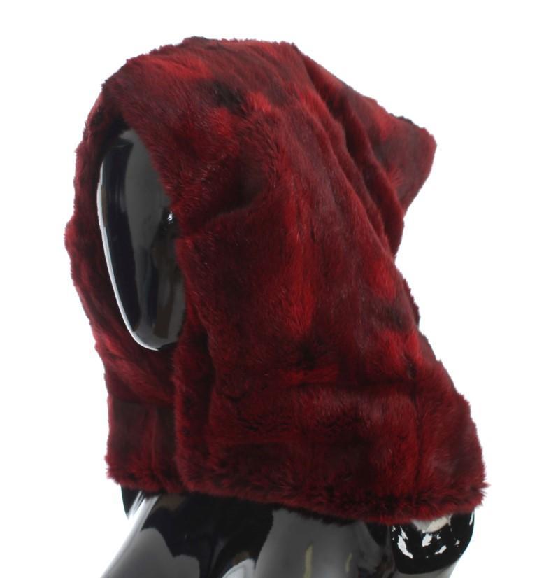 Dolce & Gabbana Women's Hamster Fur Crochet Hood Scarf Hat Bordeaux MS809